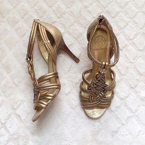 TORY BURCH Gold Braided Knot Heeled Sandals